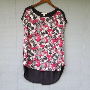 Sejour Tunic Floral Front Solid Black Back Top 1X